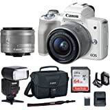 Canon EOS M50 15-45mm f/3.5-6.3 IS STM Mirrorless Digital Camera (White) with Bounce Zoom Swivel TTL Flash and Spare Battery and Charger + 64GB Memory Card + Canon Camera Bag