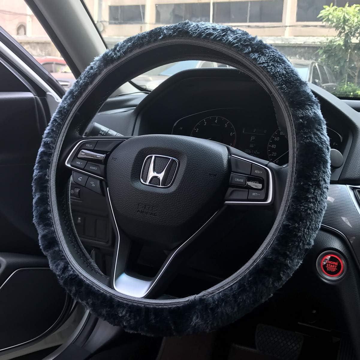 Black Anti-Slip Universal 15 inch Odorless KAFEEK Long Microfiber Plush Steering Wheel Cover for Winter Warm