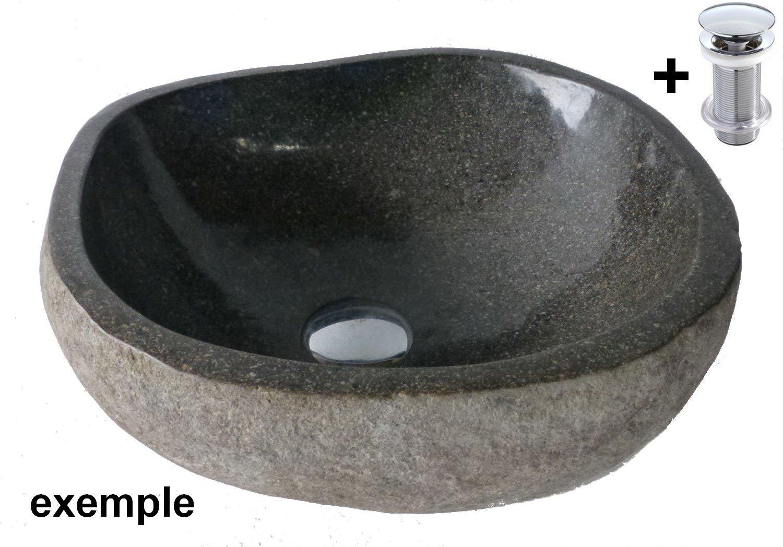 Vasque lavabo à poser en pierre naturelle 40cm + bonde standard 8cm. Choix sur photos.