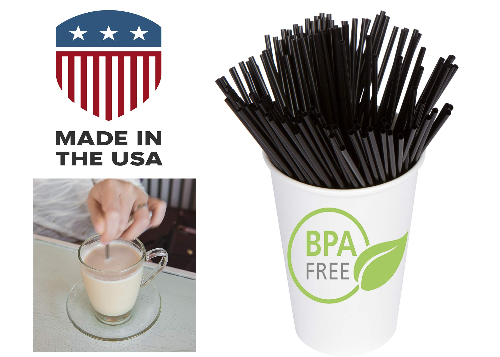 Coffee Stir Sticks, Plastic Stirrers: USA Made, BPA Free: Cocktail Straws, 5.25'' Black, 1000ct by Alexius (Image #6)