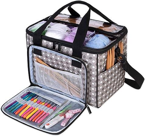 Teamoy Bolsa de Ovillos Bolso de Crochet Mochila Bolsa de Almacenamiento de Tejido en Orden(NO Incluido Accesorios),Pequeño, Puntos Grises: Amazon.es: Hogar