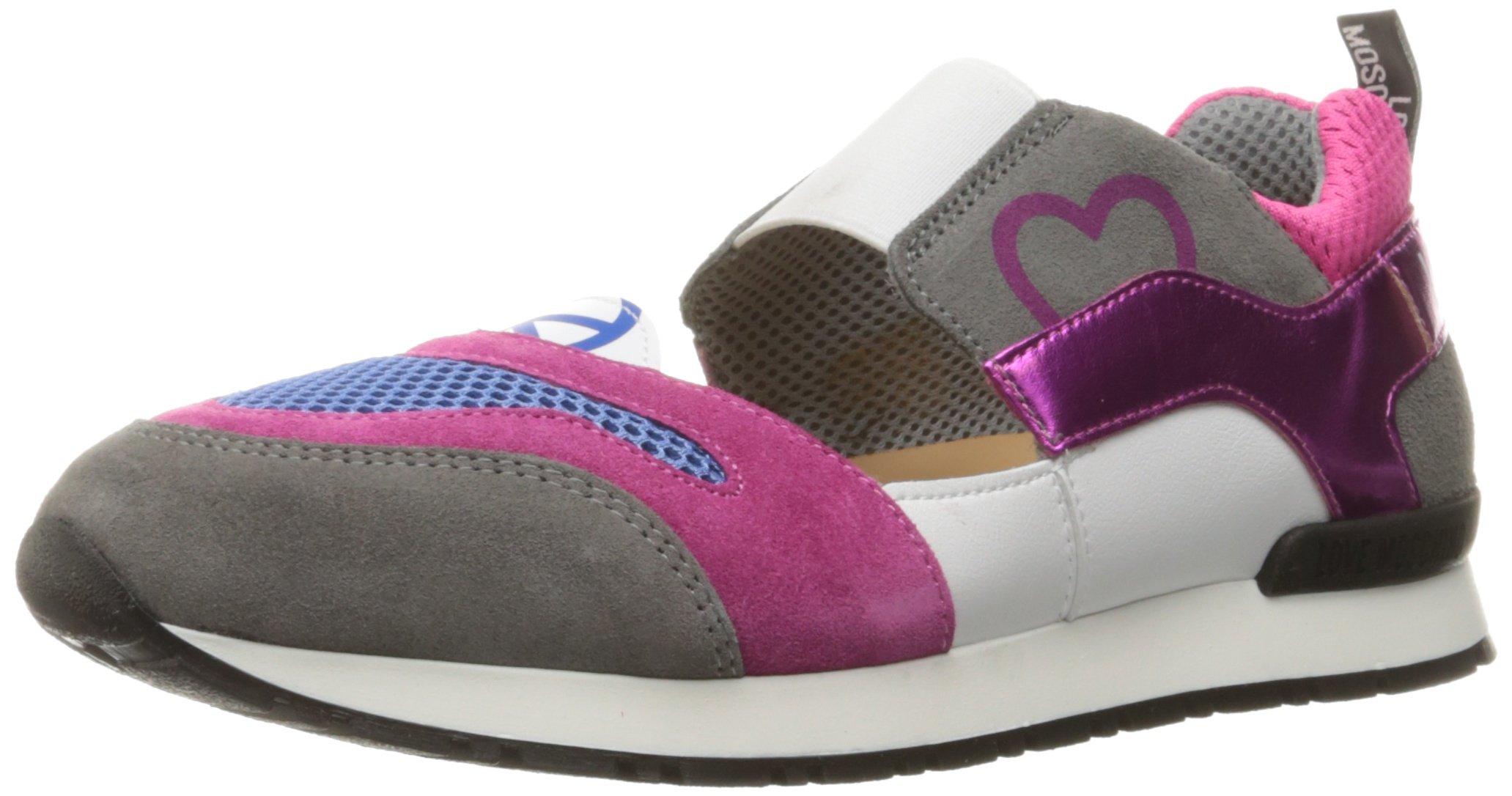 Love Moschino Women's Cut-Out Logo Running Shoe Fashion Sneaker, Fuchsia/Grey/Blue, 37 EU/7 M US