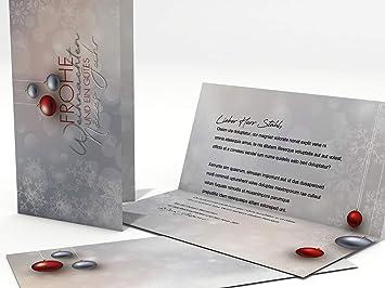 Tarjetas de Navidad con sobres, cartas de 10 Set diseño bolas de navidad Rojo y Plata, - Tarjetas imprimibles: Amazon.es: Oficina y papelería
