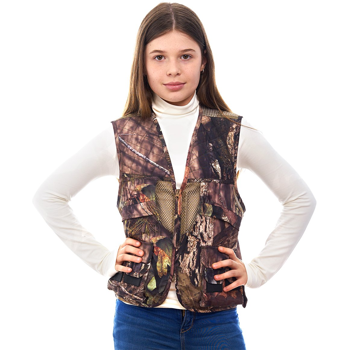 TrailCrest Kids Mossy Oak Deluxe Front Loader Hunting Vest 53354MT