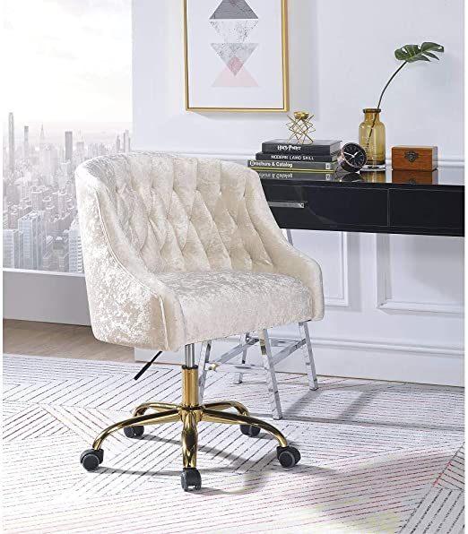 Amazon Com Swivel Task Chair Without Arms Ergonomic Computer Office Chair Velvet Soft Multifunction Computer Chair Armless Office Chair Modern Levian Office Chair In Vintage Cream Velvet Gold For Home Office Kitchen Dining