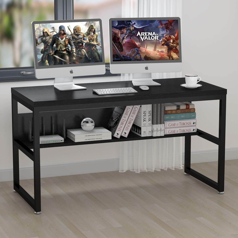 """ELEGANT 33"""" Gaming Computer Desk with Bookshelf/Metal Desk, Home Office  Writing Desk PC Table Workstation(Black+Black Frame)"""