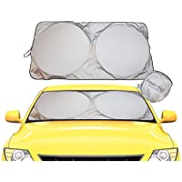 kinder Fluff Car Windshield Sun Shade with Storage Pouch | The only Certified Foldable Sunshade Proven to Block 99.87…
