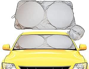 kinder Fluff Windshield Sun Shade -Sunshades Made 210T Fabric Possible Maximum UV Sun Protection –Car Shades That Keep Your car Cooler-Foldable Windshield Sunshade (Standard)
