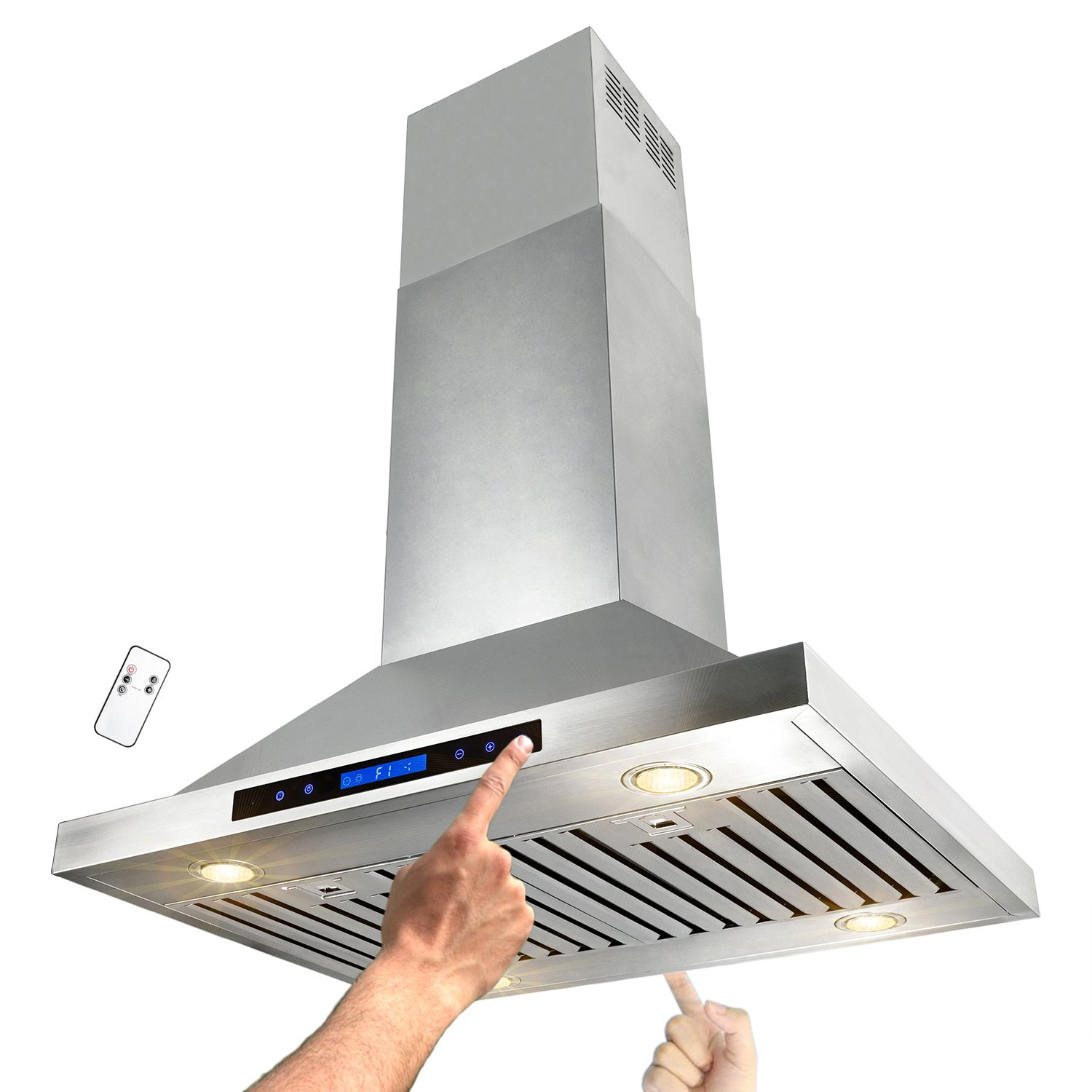 "AKDY 30"" Stainless Steel Island Mount Dual LED Both Side Touch Control Panel Kitchen Range Hood w/Remote"
