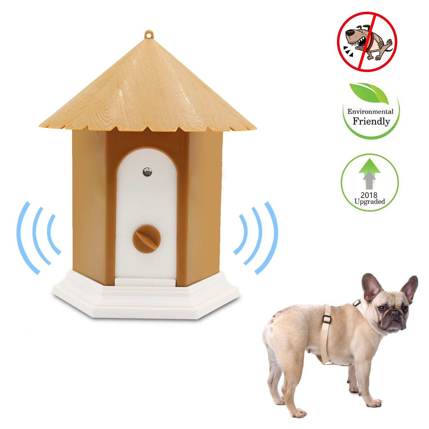 Fomei Harmless Ultrasonic Dog Bark Control Devices Waterproof Outdoor Anti Dog Bark Controller Bark Stop Repeller Silence Dog Training Repellent, Easy Hanging with 3 Mounting Modes(Pavilion-shaped)