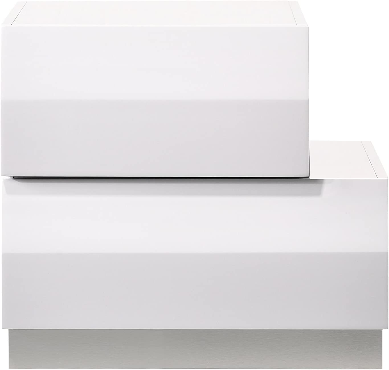 J and M Furniture Milan Right Facing Night Stand, White