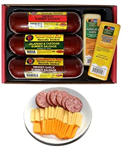 Wisconsin's Best & Wisconsin Cheese Company, Premium Sampler Gift. 100% Wisconsin Cheddar Cheese, Original, Garlic, Spicy Sausage. Great Christmas Gift for this Holiday season.