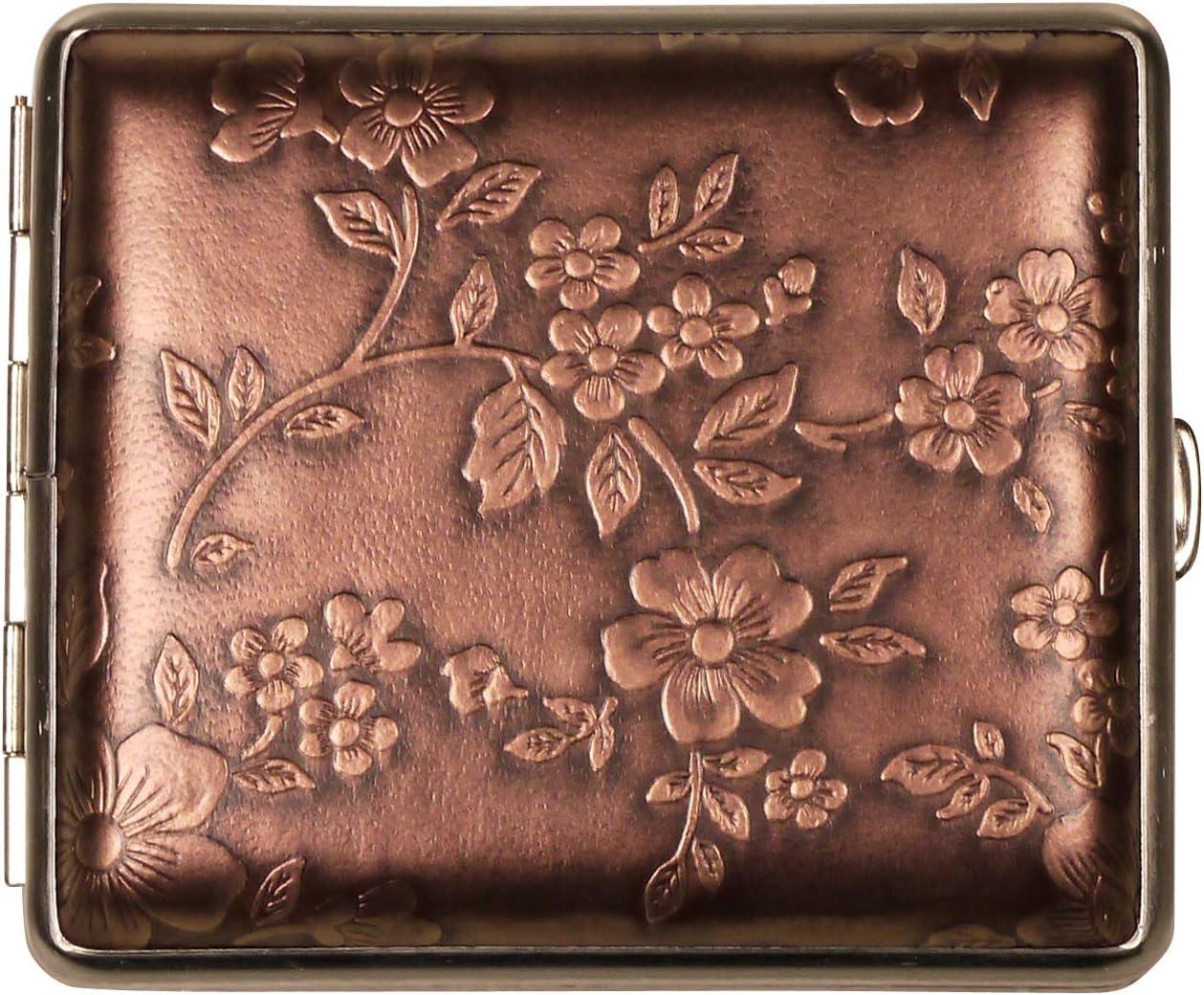 Made in Germany Zigarettenetui Blumen Bronze Rahmen Nickel matt 18er mit Gummiband