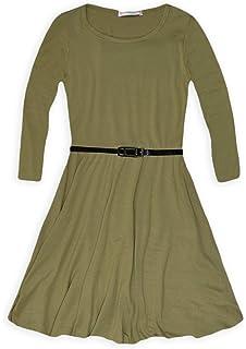 JollyRascals Girls Long Sleeved Skater Dress Kids New Plain Party Flared  Dresses Black Red Royal Blue Green Ages 5 6 7 8… 553babeec