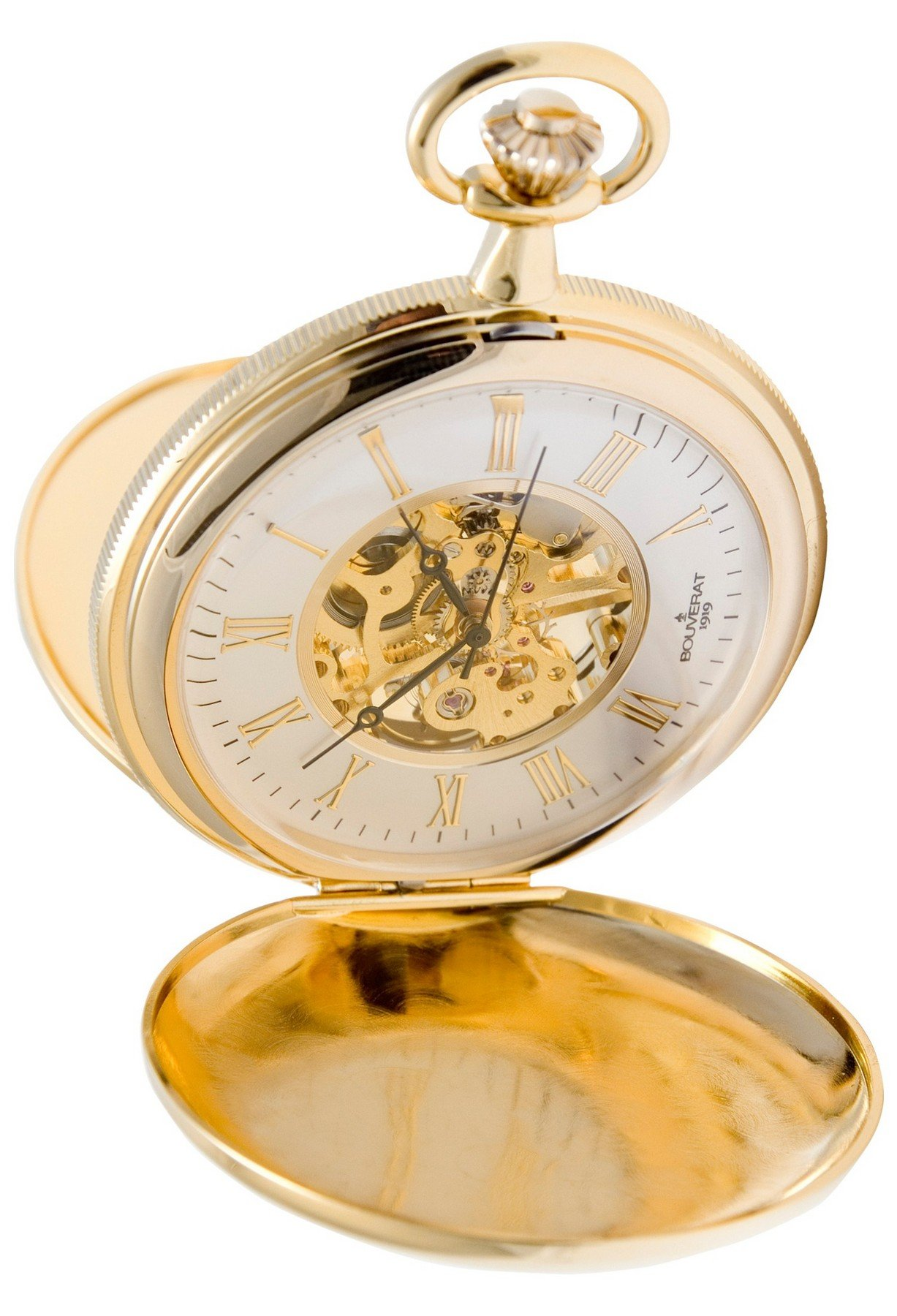 Bouverat 1919 Double Opening Shield Case Full Hunter Mechanical Roman Pocket Watch with Silver Dial BV824105