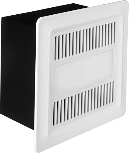 Iliving ILG8FV111 Bathroom Ventilation Exhaust DC Fan with 10W LED Light, Adjustable Speed Selector Smart Flow 50-110 CFM Energy Star, Black and Beige