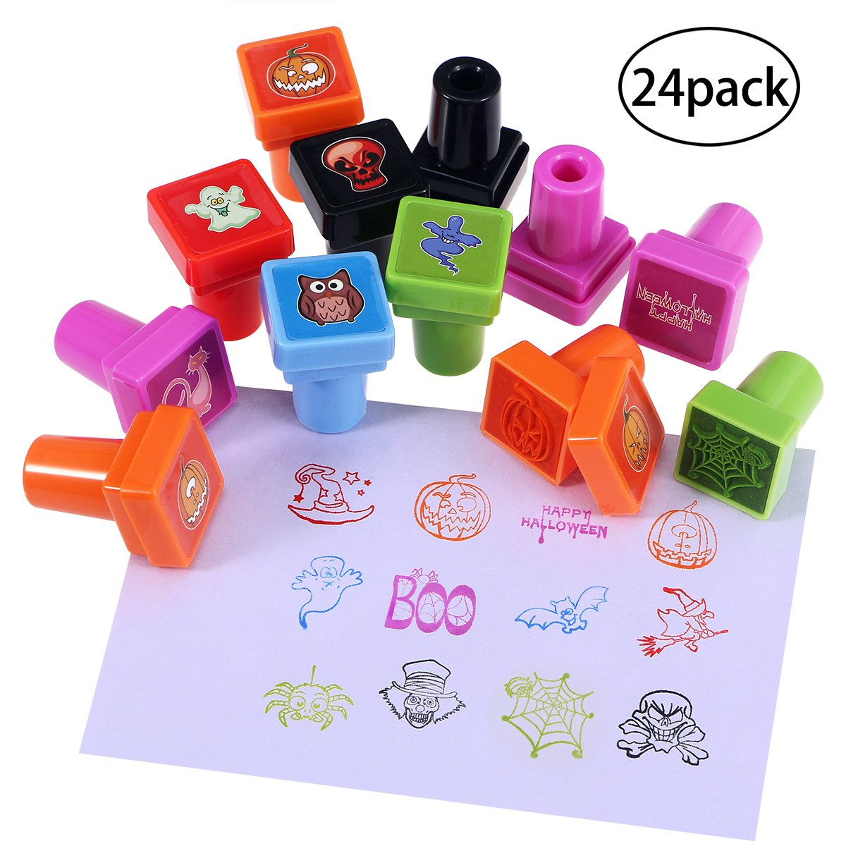 Pixnor Halloween Assorted Stamps 24Pack for Kids Self-Ink Stamps for Holiday Party Favors, 24 Different Designs, 6 Assorted Colors BESTOMZ