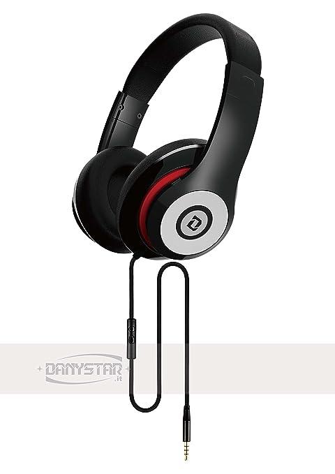 Danystar - Auriculares estéreo de tipo DJ, con micrófono incorporado, compatible con iPhone,