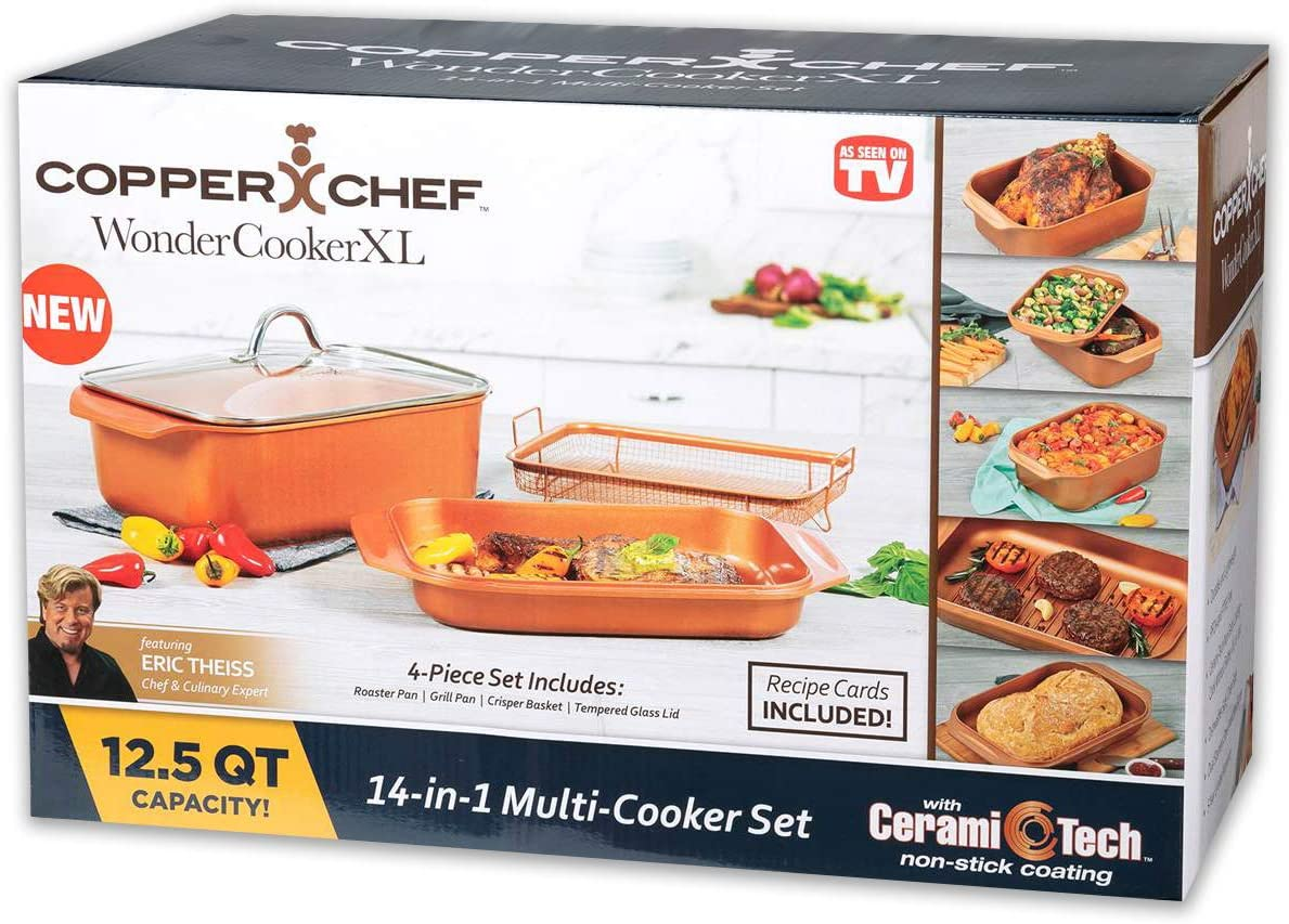 Copper Chef WonderCookerXL 14-in-1 Multi Cooker Set - 4PC Wonder Cooker XL - 12.5QT Capacity