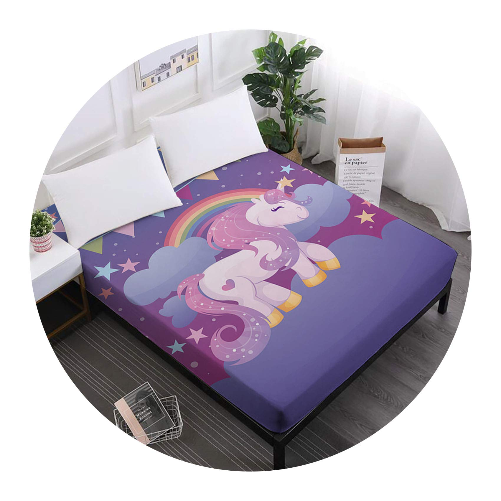 Unicorn Series Bed Sheets Cute Cartoon Print Fitted Sheet Girls Kids Sweet Sheets 100% Polyester Mattress Cover Home Decor,DCL-AS67,King