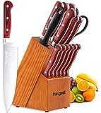 homgeek  Cuchillos Cocina, Cuchillos de Acero Inoxidable con Alto Contenido de Carbono en Alemania, Juego de Cuchillos de 15 Piezas con Caja de Madera en Bloque