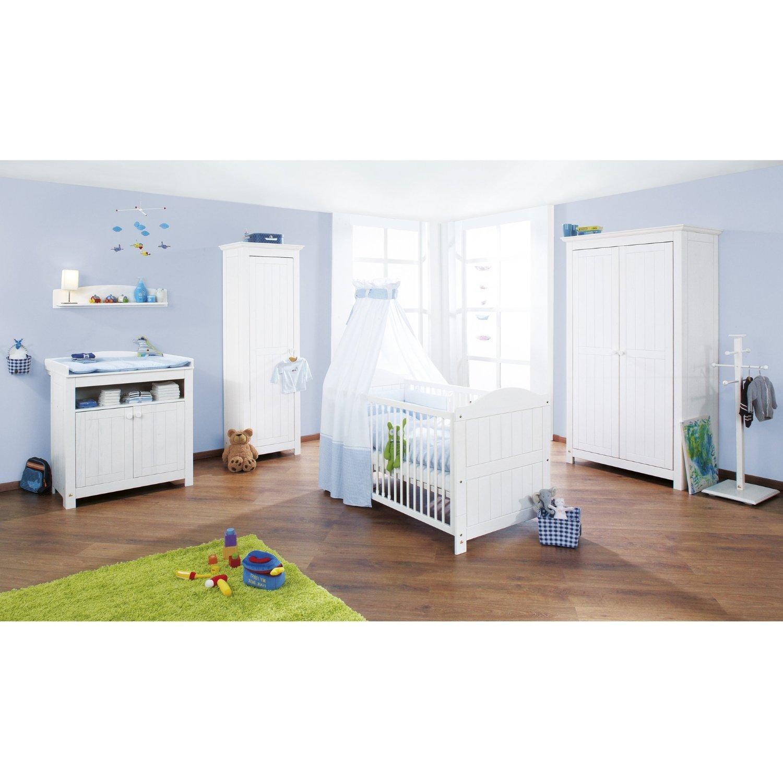 Pinolino Kinderzimmer Nina, 3-teilig, Kinderbett (140 x 70 cm), Wickelkommode mit Wickelansatz und Kleiderschrank, Fichte massiv, weiß lasiert (Art.-Nr. 10 16 17)