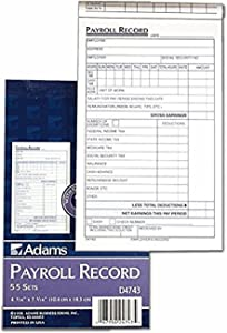 Adams Employee Payroll Record Book, 4.19 x 7.19 Inches, White and Canary, 2-Part, 55 Sets (D4743) (3 Pack)