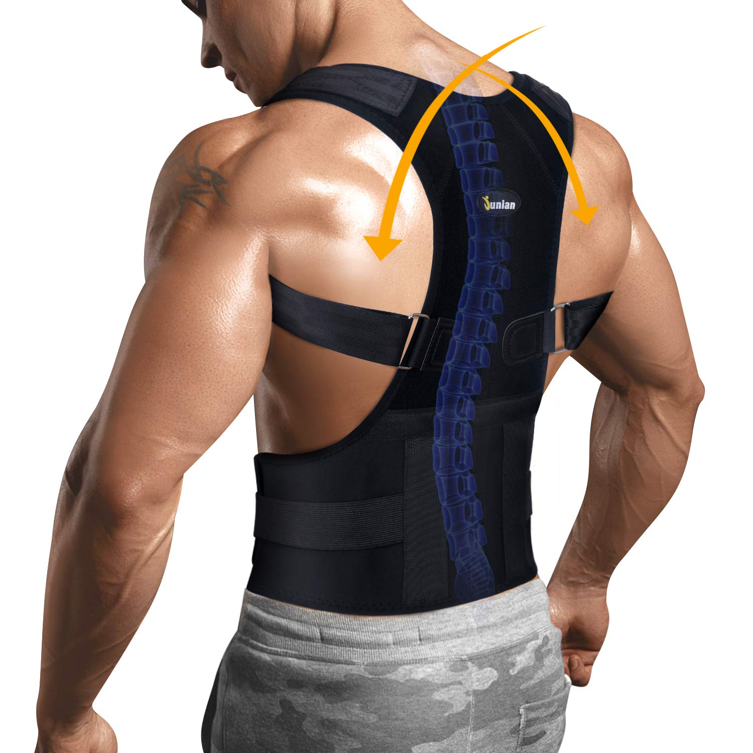 Back Holder Posture Corrector with Lumbar Support Belt for Shoulder and Neck Pain Relief Device Adjustable Clavicle Support Brace (Black, M) by Junlan