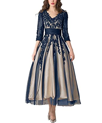 ABaowedding Womens Lace Applique Tea-Length Mother of Bride Dresses Prom Gowns US2 Navy and