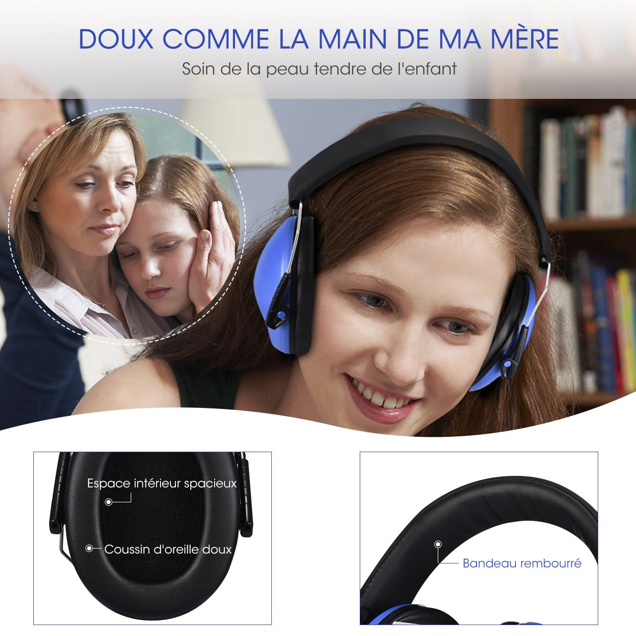 Hearing Protection with Adjustable Headband Mpow 068 Kids Earmuffs Comfortable Kids Safety Ear Muffs for Professional Soundproofing Noise Reduction 25dB NRR Ear Defenders Blue