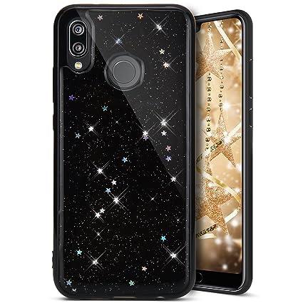 Funda Huawei P20 Lite Ultra Slim, Carcasa Huawei P20 Lite Funda, Ukayfe Funda TPU Suave Rubber con Estrellas Brillantes Motivo Funda con lentejuelas ...