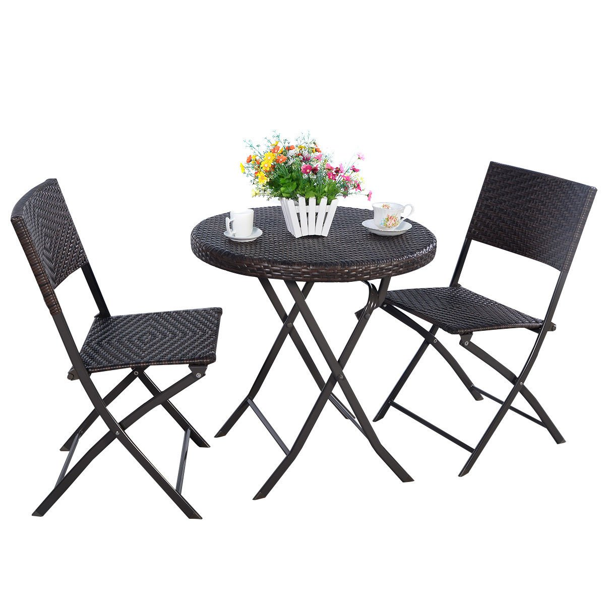 TANGKULA Outdoor Patio Bistro Set Foldable Chairs & Table for Backyard Lawn Balcony Pool Outdoor Modern Rattan Wicker Dining Set Patio Furniture Set Outdoor Patio Conversation Set (round)