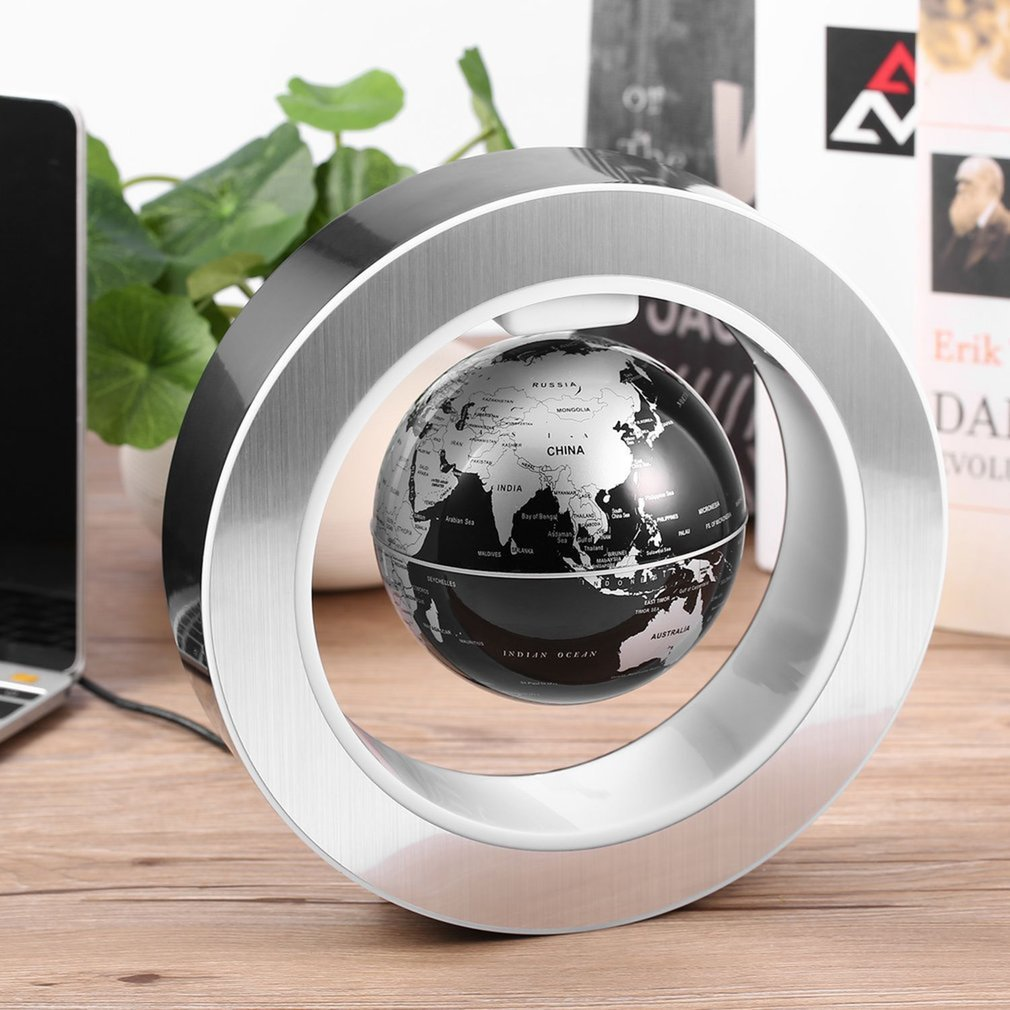 Magnetic Levitating Globe | Coldcedar 4 inch Magnetic Floating Globe -High Rotation LED Light Anti Gravity Globe World Map for Desk Decoration Kids Educational Globe (US Plug)