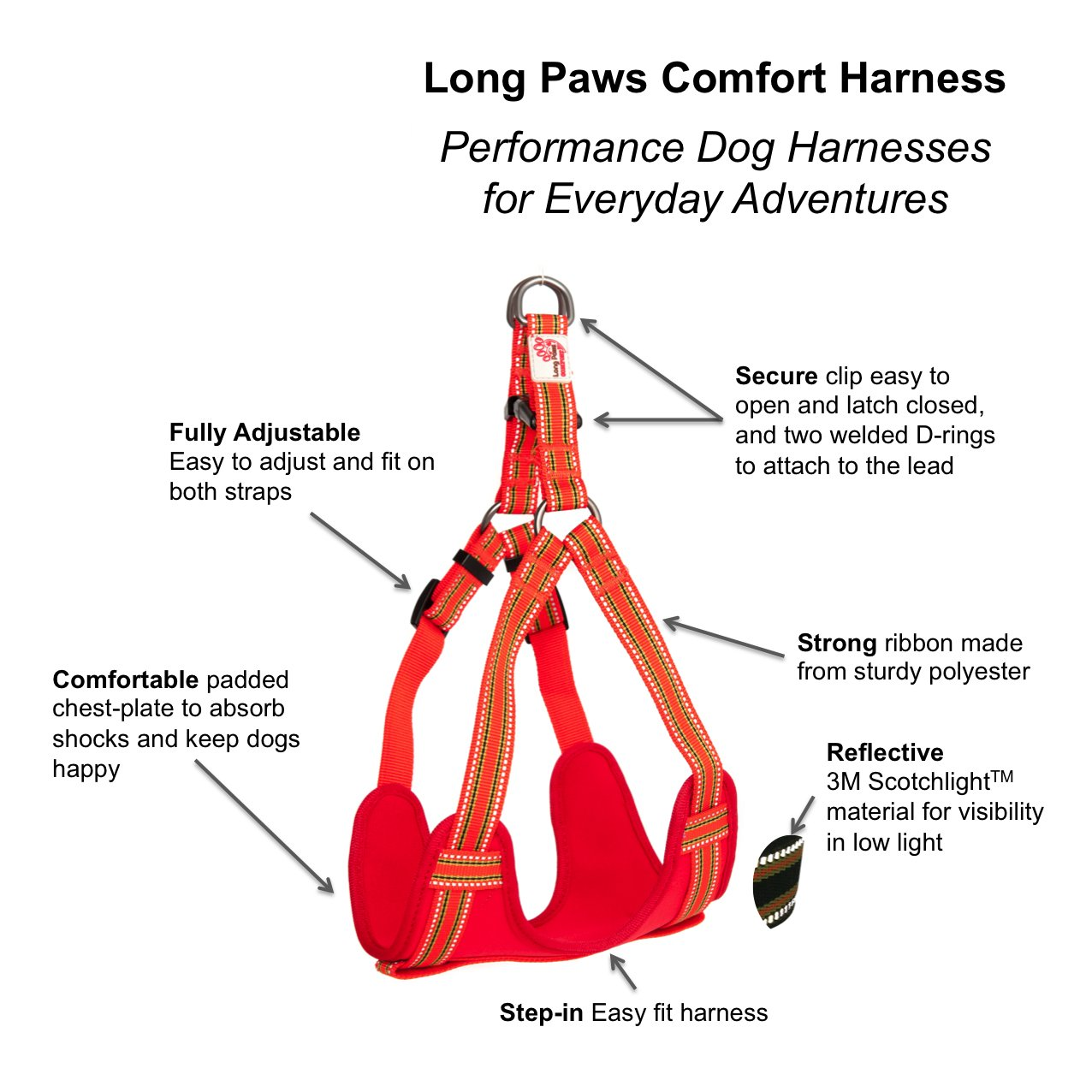 Long paws comfort harness reflective padded dog harness small long paws comfort harness reflective padded dog harness small black amazon pet supplies pooptronica Images