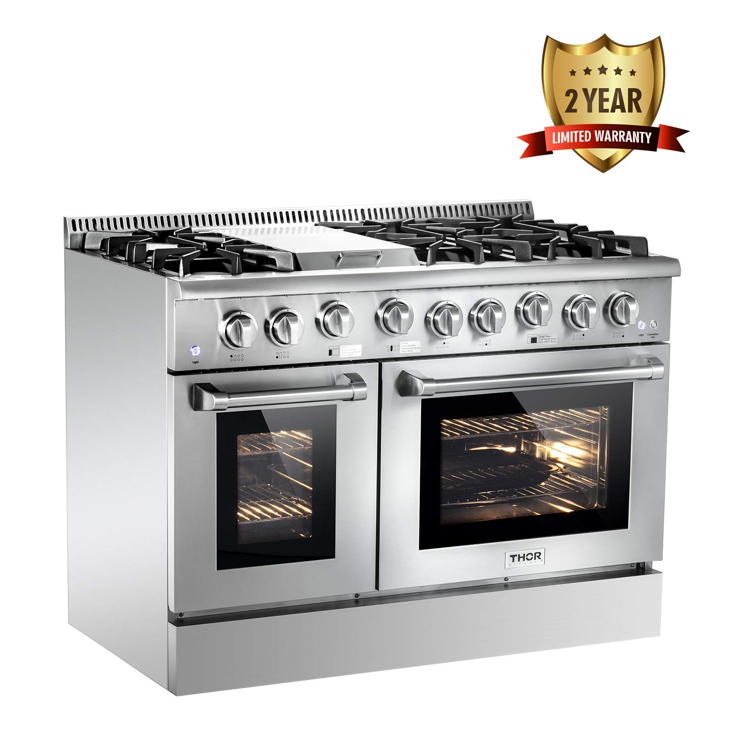 Thor Kitchen Silver 48'' Gas Range Cooktop with 6.7 cu.ft Double Convection Oven and Stainless Steel Griddle Burner - 6 Burners - 2-Years-Warranty - With LP Conversion Kit