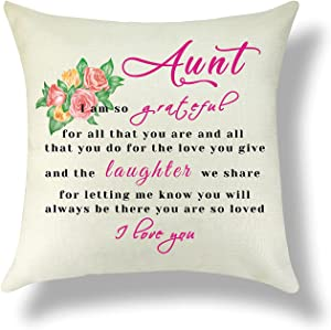 Aunt Gift Throw Pillow Cover Thanks Aunt Pillowcase Love and Grateful You Cotton Linen Throw Pillow Cover Aunt Birthday Gift from Niece Nephew Cushion Cover Home Decor Sofa Bedroom Living Room 18