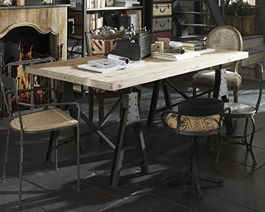 Dining Table Industrial1 Recycled Reclaimed Wood Handmade Furniture Made In Italy Amazon De Kuche Haushalt