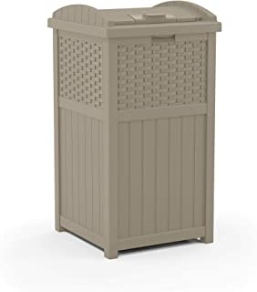 product image for Suncast 33 Gallon Hideaway Trash Can for Patio - Resin Outdoor Trash with Lid - Use in Backyard, Deck, or Patio - Dark Taupe