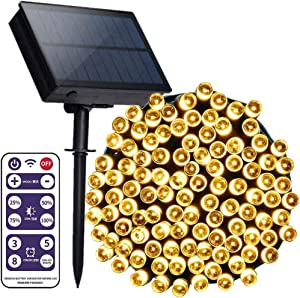 VWMYQ Solar String Lights Outdoor 72ft 200 LED Solar Powered Outdoor Lights Waterproof Fairy String Lights for Indoor, Patio, Christmas, Gardens, Homes, Wedding, Holiday, Party Decor (Warm White)