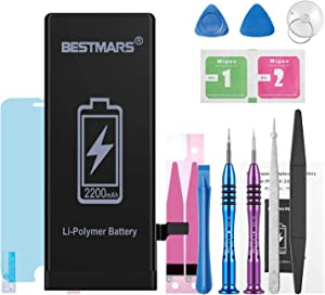 BESTMARS Battery Compatible for iPhone 6, 2200mAh High Capacity 0 Cycle Li-ion Replacement Battery with Complete Repair Tool Kit, Adhesive Strip, Instructions and Screen Protector - 2 Year Warranty