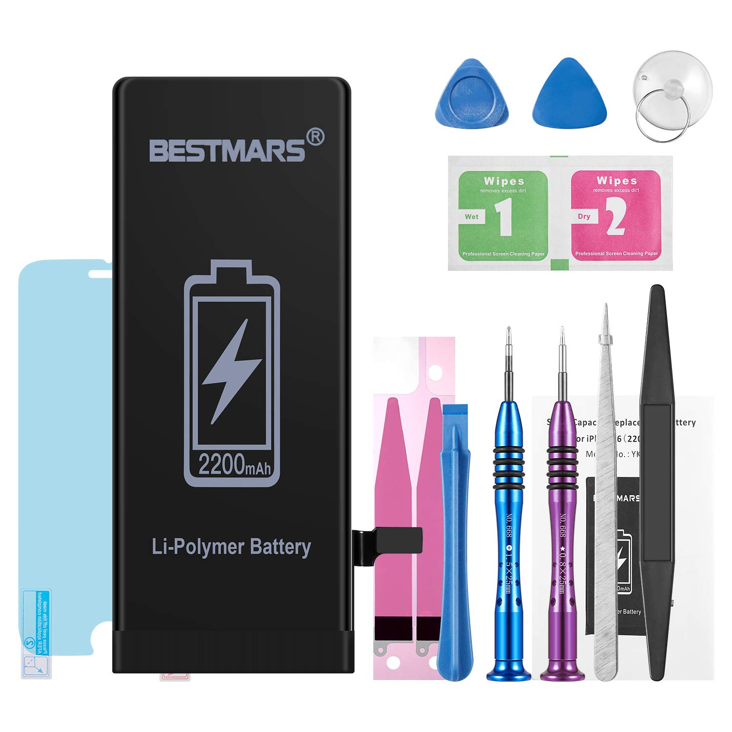 BESTMARS Battery Compatible for iPhone 6, 2200mAh High Capacity 0 Cycle Li-ion Replacement Battery with Complete Repair Tool Kit, Adhesive Strip, Instructions and Screen Protector - 2 Year Warranty by BESTMARS