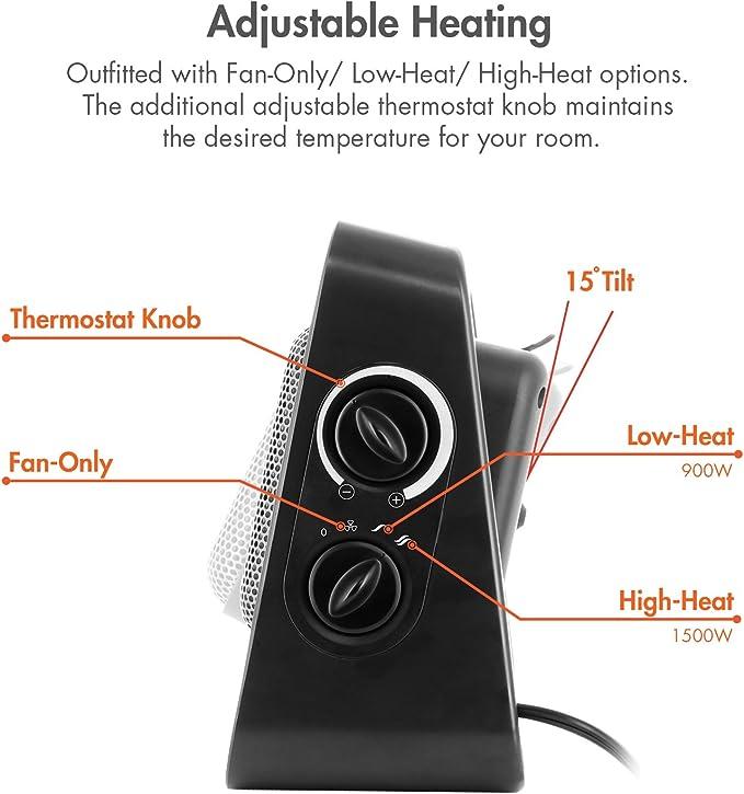 Kingavon 1500W PTC Ceramic Portable Space Heater with 3 Heat Settings FH199