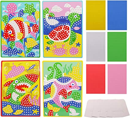 Amazon Com Lovyan Mosaic Stickers Art Kits For Kids 4 Pack Diy Handmade Art Crafts With Card Stands 1080 Sticky Tiles Sea Animals Toys Games