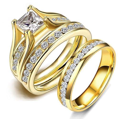 Amazon.com: LOVERSRING - Juego de anillos de compromiso para ...