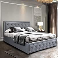 Artiss Double Bed Frame Fabric with Gas Lift Storage - Grey