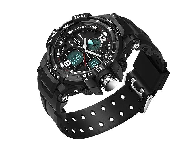 amstt Unisex Deportes Niños Relojes Joven Hombres Analógico Digital Resistente Al Agua Digital Reloj de pulsera LED Alarma Calendario al aire libre reloj ...
