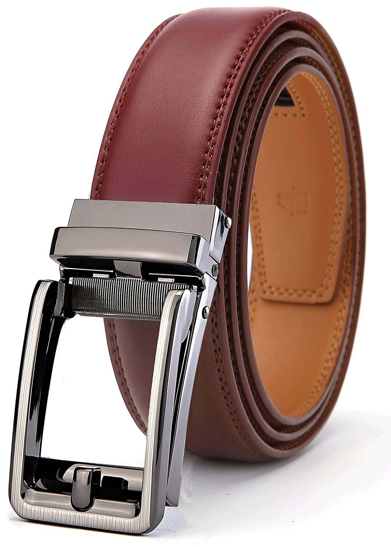 Men's Belt, Bulliant Leather Ratchet Belt for Men Dress with Click Buckle, Trim to Exact Fit,Big& Tall Men' s Belt