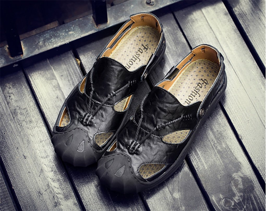 xiaojian& Zapatillas de playa de cuero de verano para hombres, khaki, 45 45|Khaki