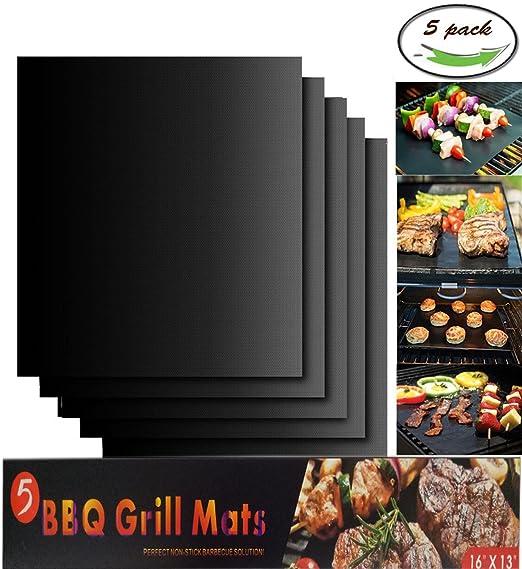 Parrilla de Barbacoa, Vonimus Non Stick BBQ Parrilla Juego de 5, reutilizables y resistentes al calor, 40 x 33 cm