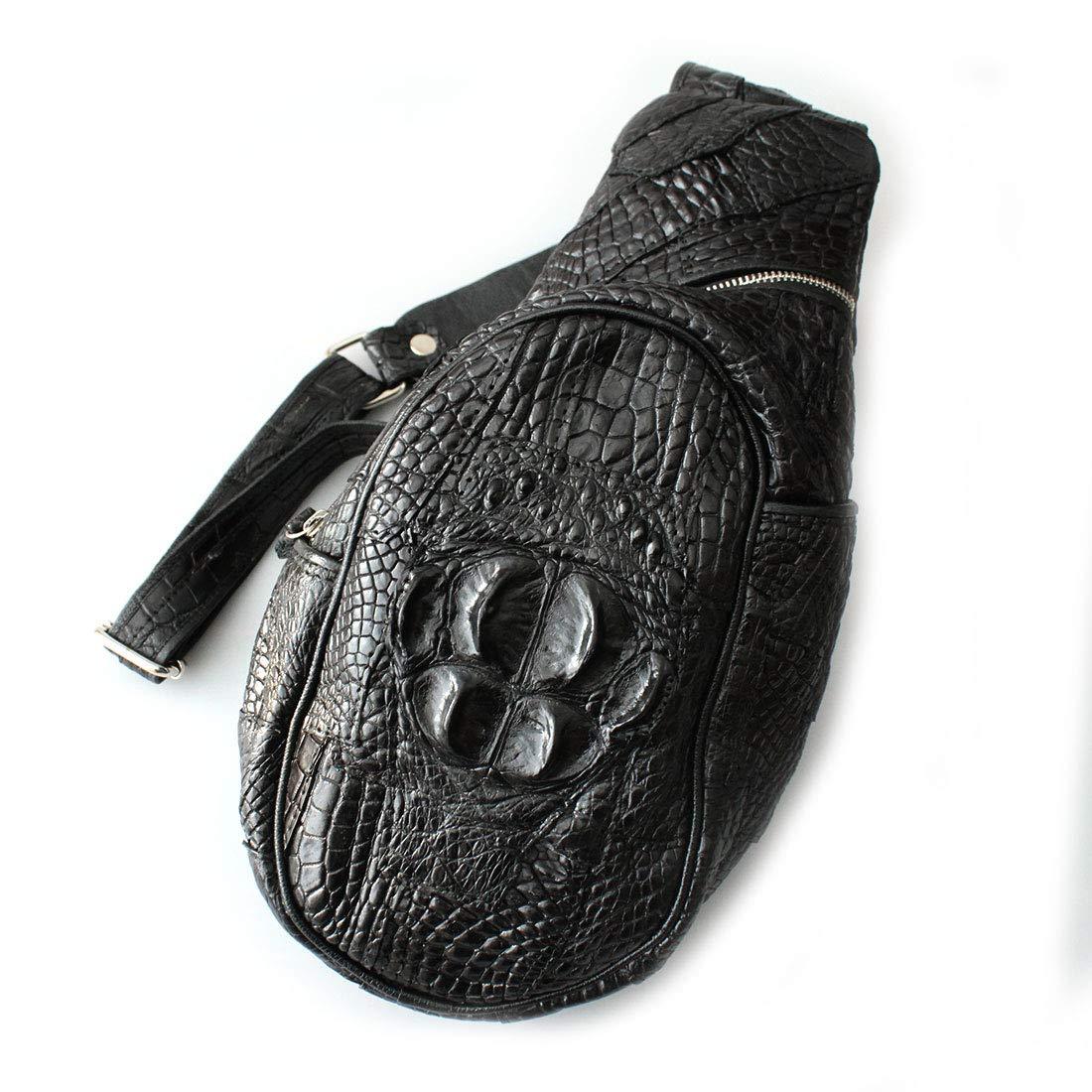 レザーバッグ ボディバッグ メンズ 本革 鰐革 クロコダイル パッチワーク加工 クラウン ブラック ダークブラウン B07NBP3CN4 ブラック